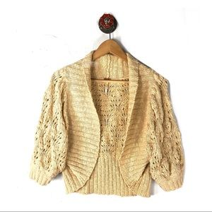 Free people small cardigan cropped crochet knit